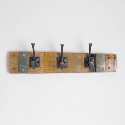 Wine Stave Coat Rack with Square Oil Rubbed Bronze Hooks