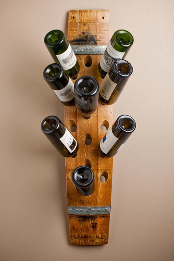 Wine Barrel Stave 16 Bottle Wall Rack