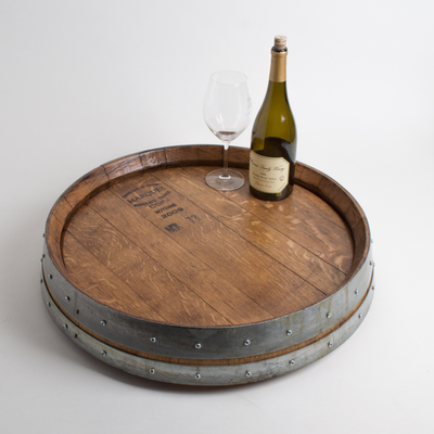 Banded Wine Barrel Lazy Susan