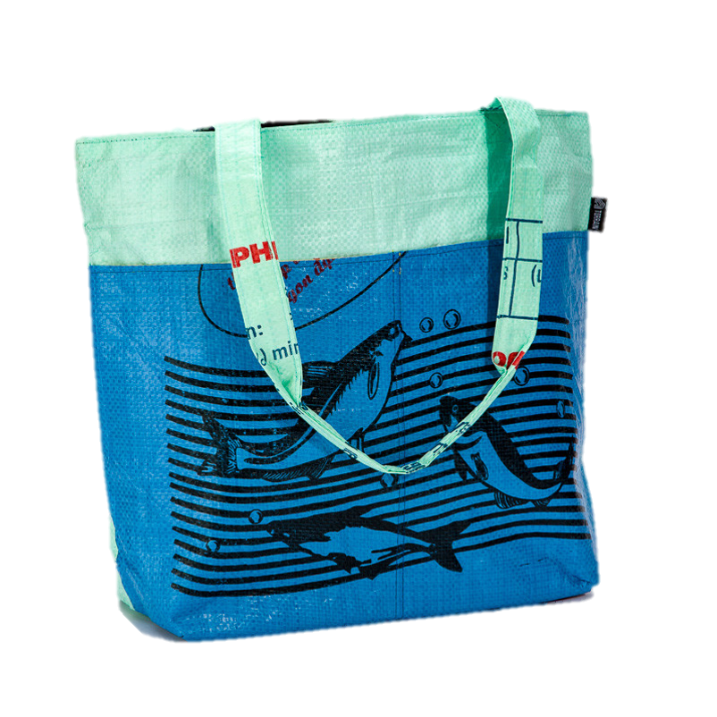 Feed Bag Barrel Tote (Ocean Blue Fish)