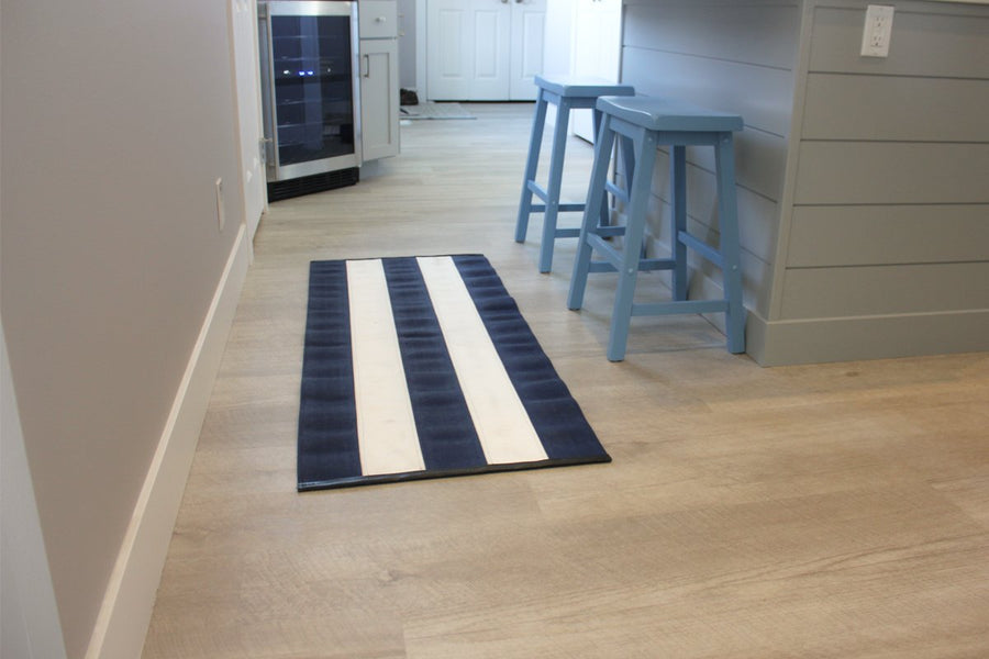 Fire Hose Floor Mat - Blue/White 2x5