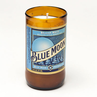 Blue Moon Beer Bottle Candle