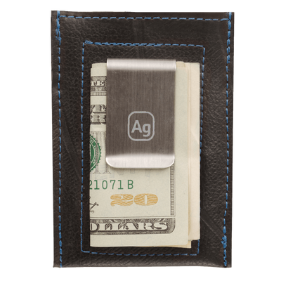 Bryant Upcycled Money Clip Wallet - Blue Trim