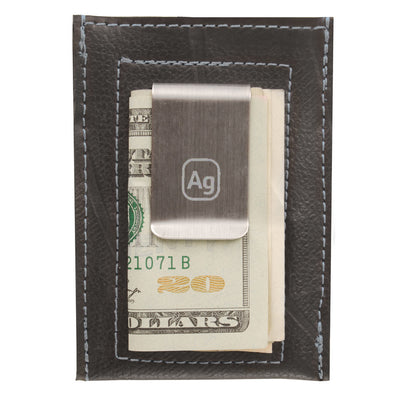 Bryant Upcycled Money Clip Wallet - Silver Trim