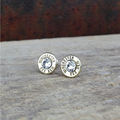Bullet Casing Earrings with Swarovski Crystals