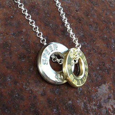 Upcycled Bullet Casing 2-Piece Silver Necklace