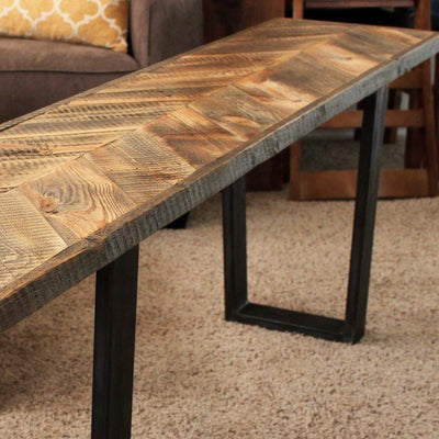 Reclaimed Wood Chevron Pattern Bench