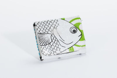 Classic Reclaimed Rice Bag Wallet - White Fish