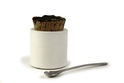 White Concrete Salt Cellar or Spice Jar with Cork