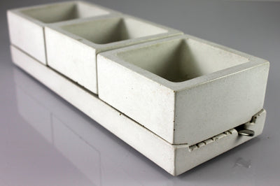 White Concrete Salt + Spice Holder