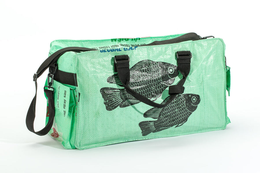 Small Feed Sack Duffel Bag in Leaf Green
