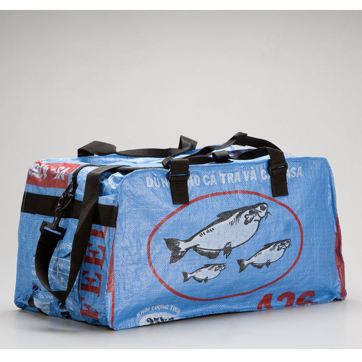 Medium Feed Sack Duffle Bag in Ocean Blue