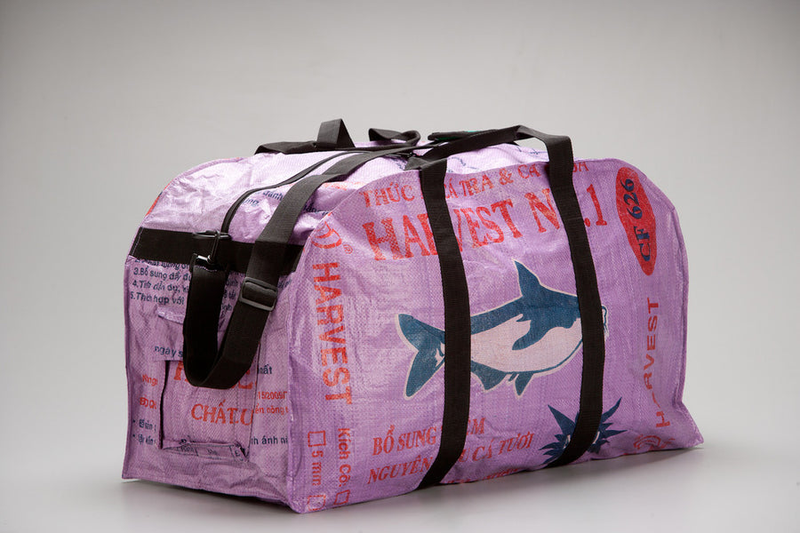 Large Feed Sack Duffle Bag in Lilac