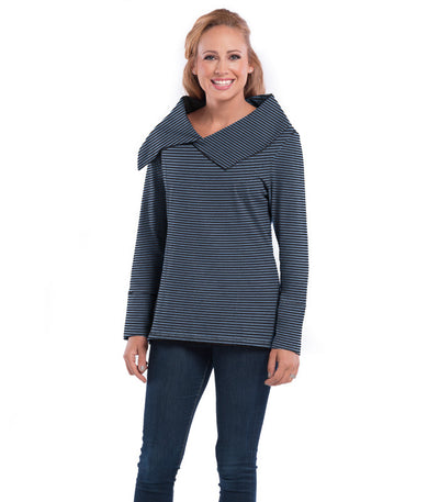 Daffodil Women's Eco-Friendly Top - Charcoal/Chamblue
