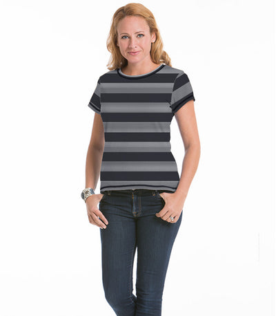 Women's Daisy Fitted Stripe Top - Charcoal/Cloud Stripe