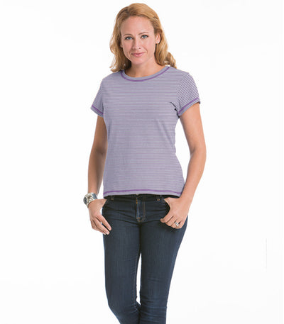 Women's Daisy Fitted Stripe Top - Lilac/Ash