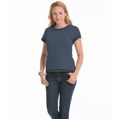 Women's Daisy Fitted Stripe Top - Charcoal/Chamblue
