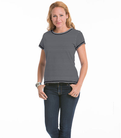Women's Daisy Fitted Stripe Top - Charcoal/Cloud