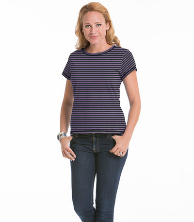 Women's Daisy Fitted Stripe Top - Charcoal/Lilac