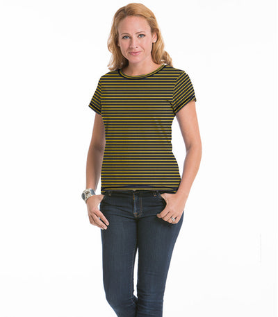 Women's Daisy Fitted Stripe Top - Charcoal/Maize