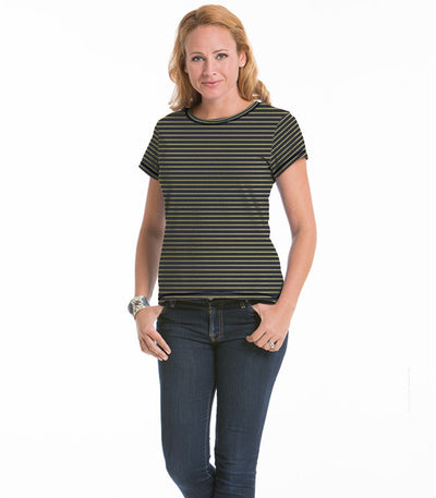 Women's Daisy Fitted Stripe Top - Charcoal/Olive