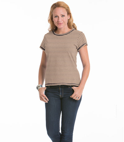 Women's Daisy Fitted Stripe Top - Earth/Sand