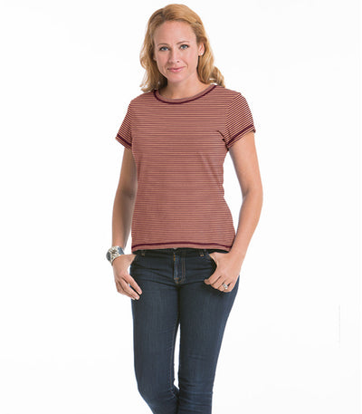Women's Daisy Fitted Stripe Top - Merlot/Cantaloupe