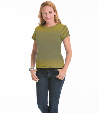Women's Daisy Fitted Stripe Top - Maize/Olive
