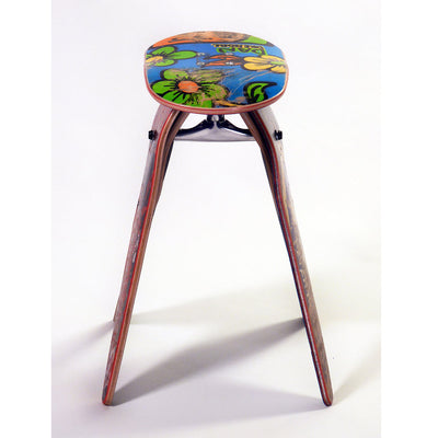 Recycled Skateboard Stool Side View