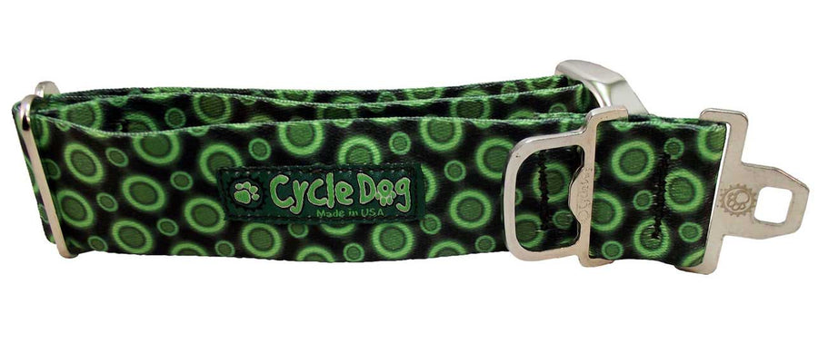 Green SpaceDots Dog Collar