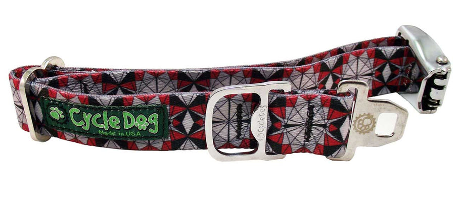Grey Red Kaleidoscope Dog Collar
