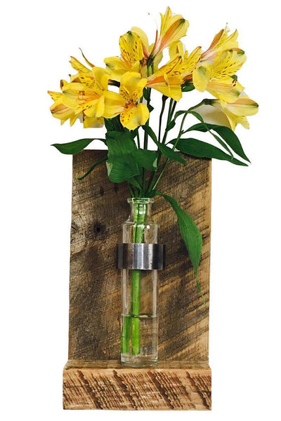 Wall Mounted Reclaimed Wood Flower Vase