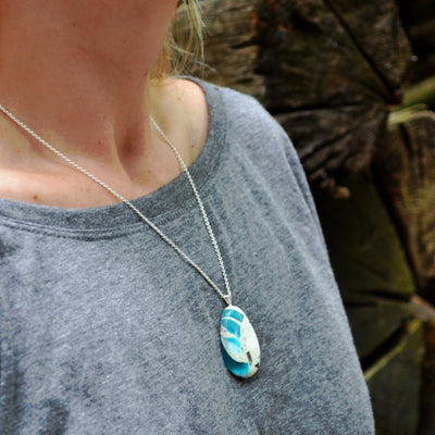 Recycled Glass Pendant Necklace in Floating Blue