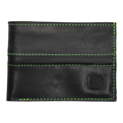 Franklin Eco Vegan Rubber Wallet - Green Stitching
