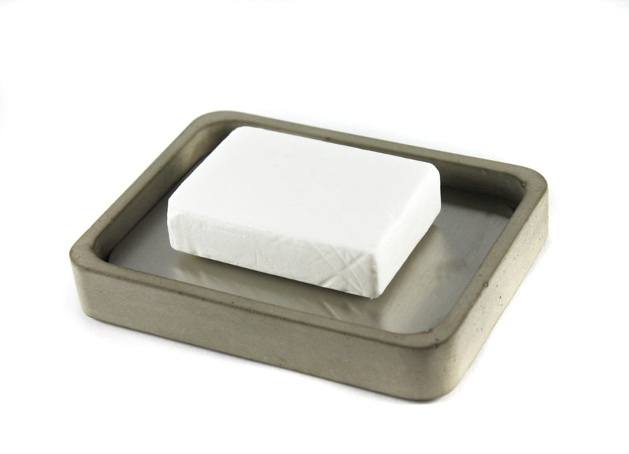 Concrete + Stainless Steel Soap Dish (Grey)