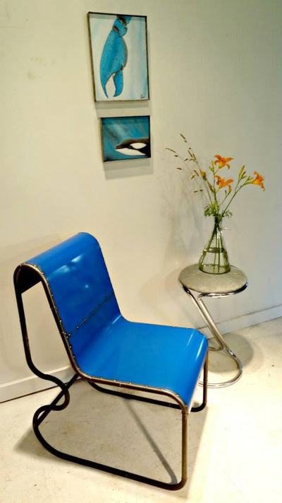 Gumdrop Reclaimed Metal Chair in Blue