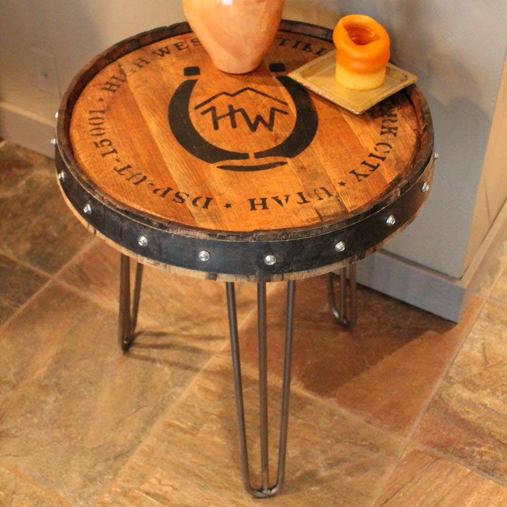 Bourbon Barrel Wood Furniture ~ High west whiskey barrel table the spotted door