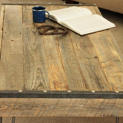 Industrial Reclaimed Wood Coffee Table, Steel Accents