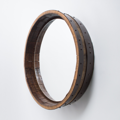 Inverted Hammered Copper Wine Barrel Mirror