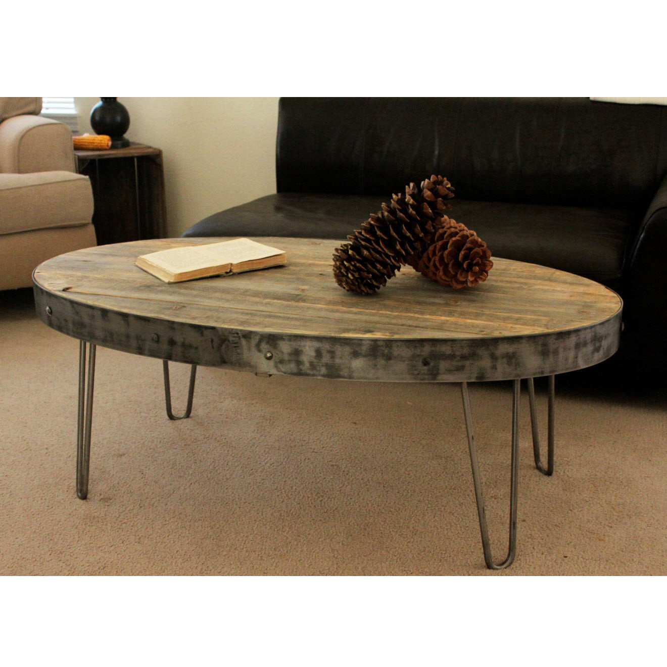 Reclaimed Wood Oval Industrial Coffee Table The Spotted Door