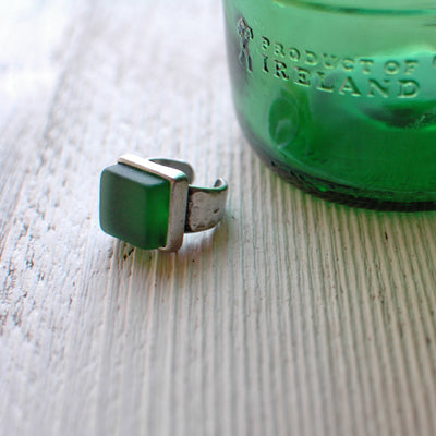 Recycled Jameson Bottle Green Glass Ring