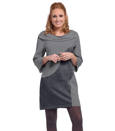 Ladies Daphne Dress - Charcoal/Cloud