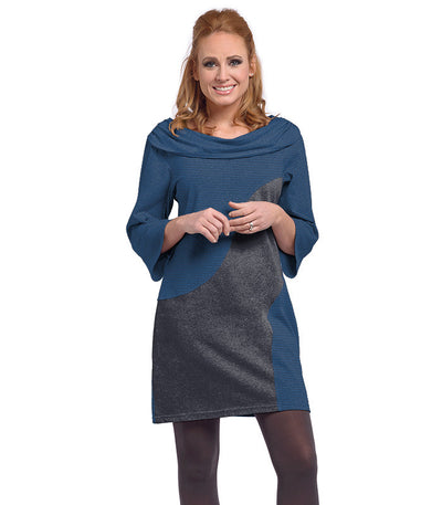 Ladies Daphne Dress - Charcoal/Sapphire