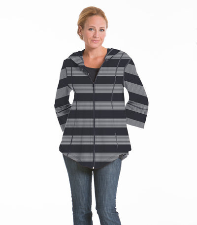 Passion Flower Wide Stripe Jacket - Charcoal/Cloud