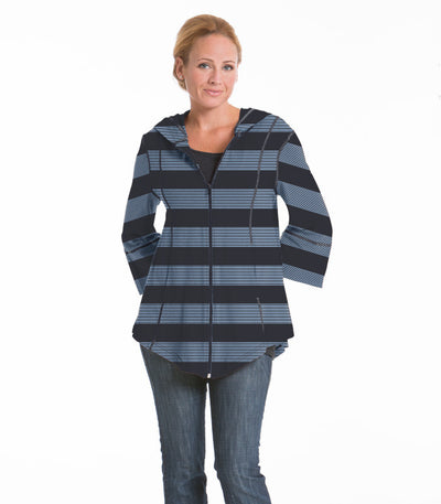 Passion Flower Wide Stripe Jacket - Charcoal/Ocean