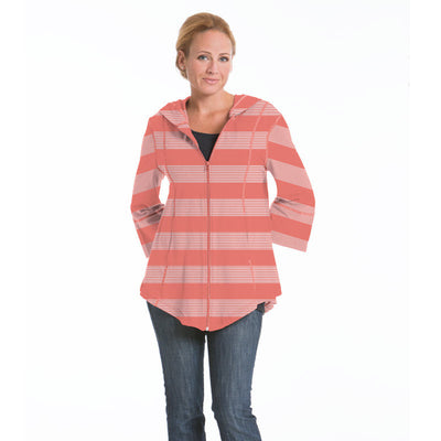 Passion Flower Wide Stripe Jacket - Coral/Cloud