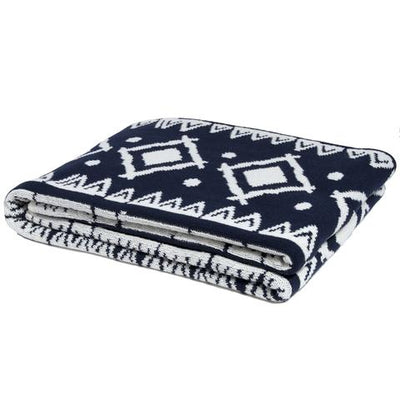 Eco Zuni Reversible Throw Blanket (Marine/Milk)