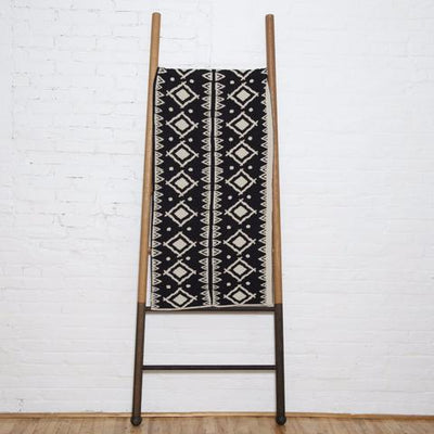 Eco Zuni Reversible Throw Blanket (Black/Flax)