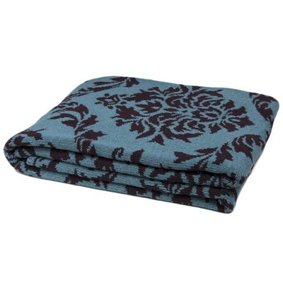 Eco Damask Reversible Throw Blanket (Vapor/Merlot)