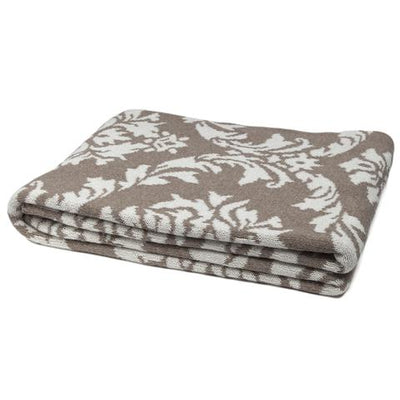 Eco Damask Reversible Throw Blanket (Charcoal/Milk)